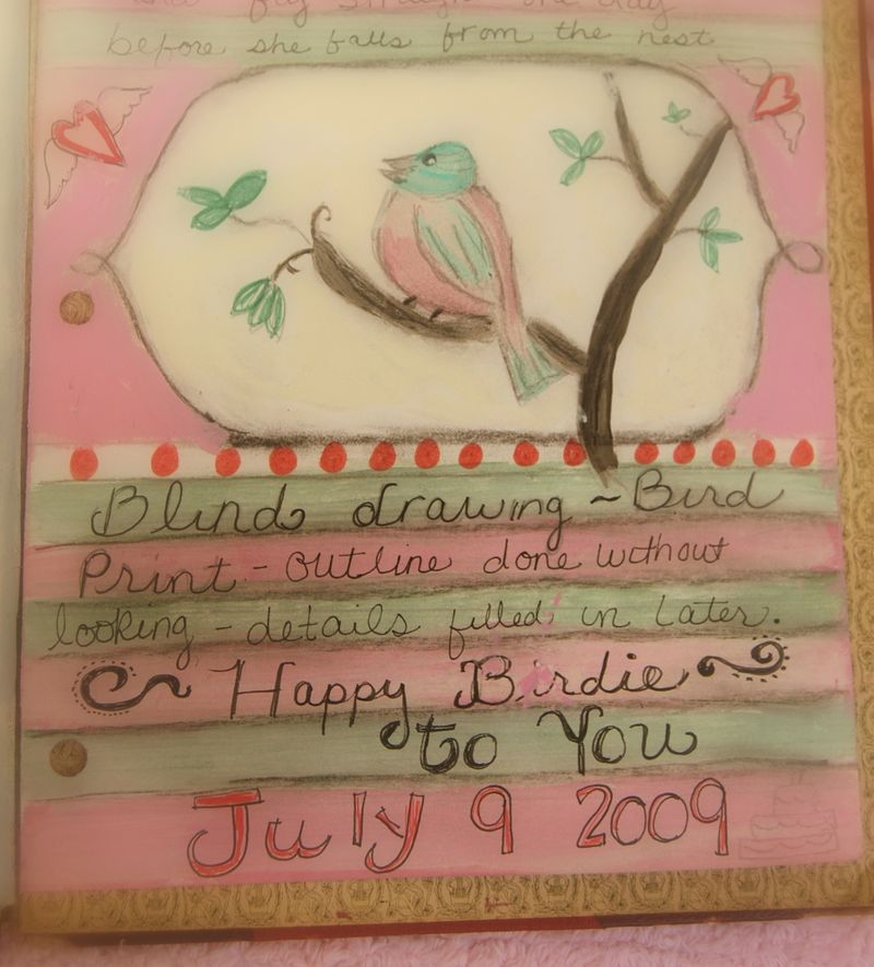Journal page...bird cropped for privacy