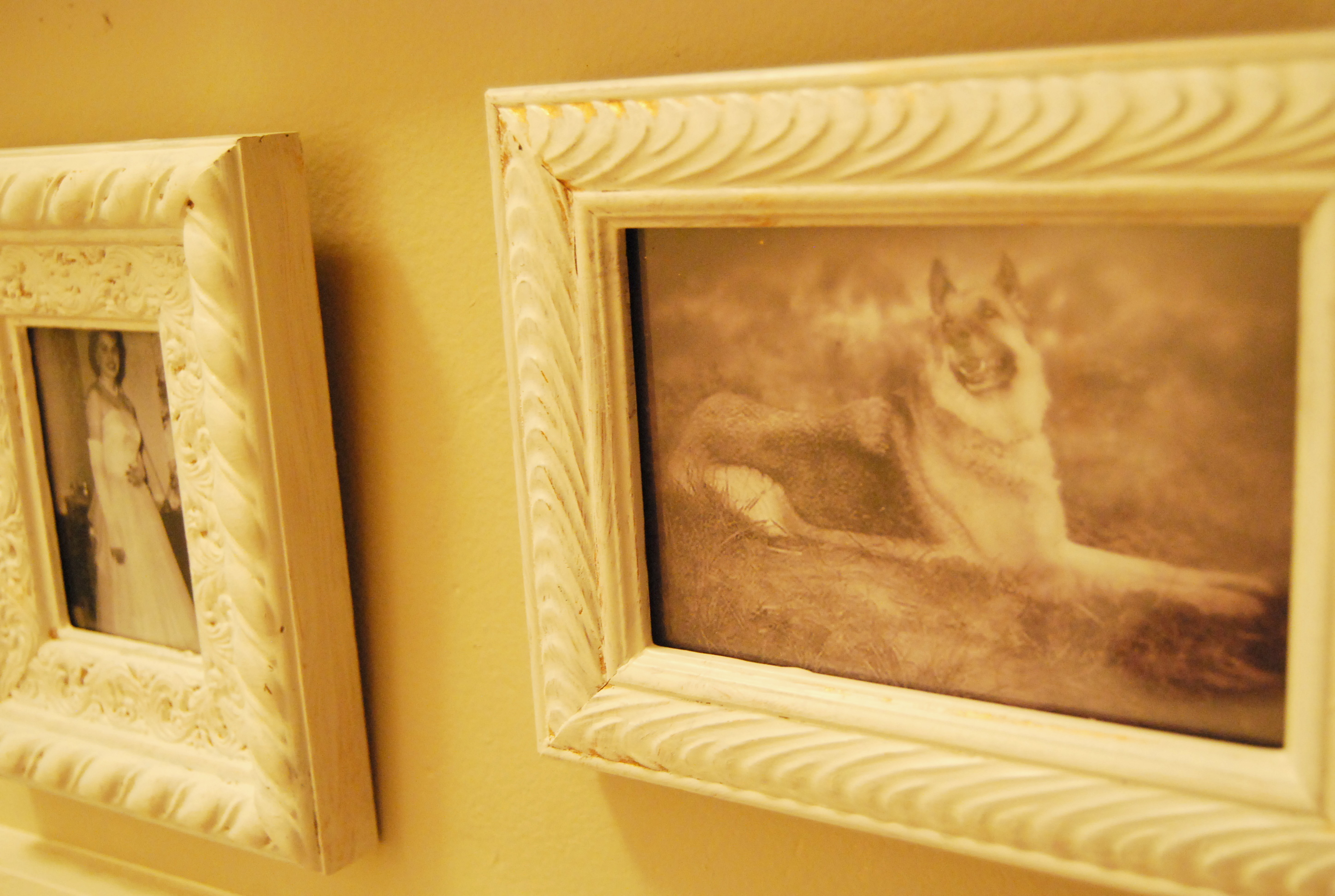 Thrifty Miss Priss: Family picture wall with thrifted frames